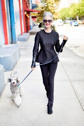How 3 Chic Ladies Style The Modern Suit    Linda Rodin, stylist and founder of Olio Lusso.  She is in her 60s.