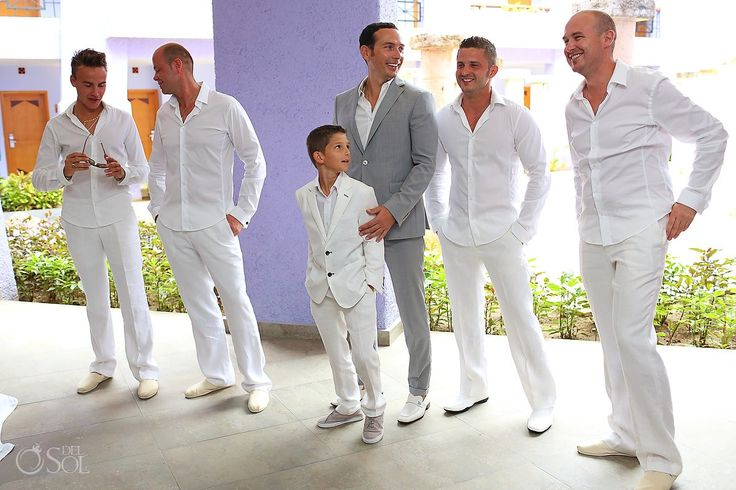 The Groom And His Ushers, Handsome Wedding Party In White