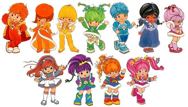 Rainbow Brite and Friends Clockwise from top left: Red Butler, Lala Orange, Canary Yellow, Patty O'Green, Buddy Blue, Indigo, Shy Violet, Tickled Pink, Rainbow Brite, Stormy, Moonglow.