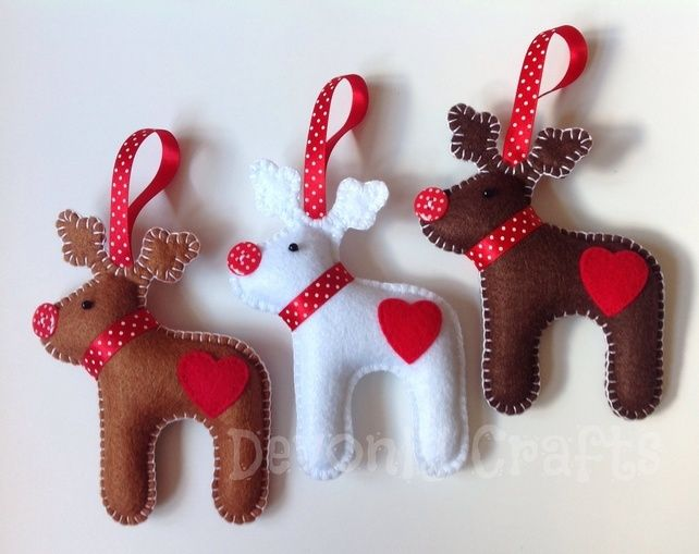 x3 Felt Reindeer Hanging Christmas Decorations, Ornaments (mixed colours) £17.50