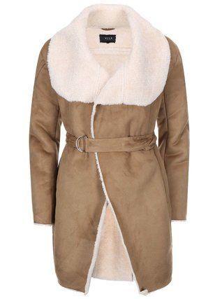 VILA - Světle hnědý delší kabát s kožíškem  Aviate - 1