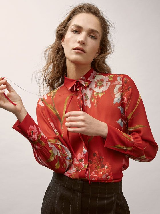5c9cd7b80c7 Fall Winter 2017 Women´s GEORGETTE SHIRT WITH FLORAL PRINT AND GROSGRAIN  DETAIL at Massimo Dutti for 59.95. Effortless elegance!