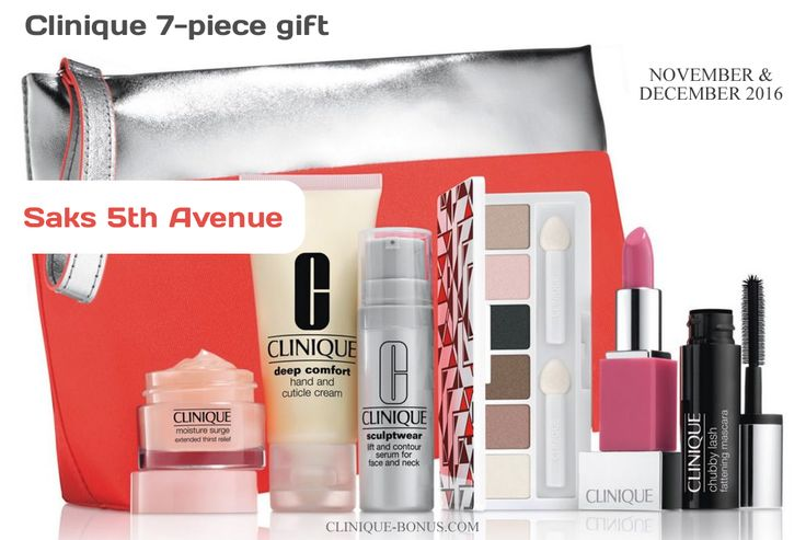 New winter promotion from Saks: free 7pc Clinique gift when you shop now through Dec 4, 2016. http://clinique-bonus.com/other-us-stores/