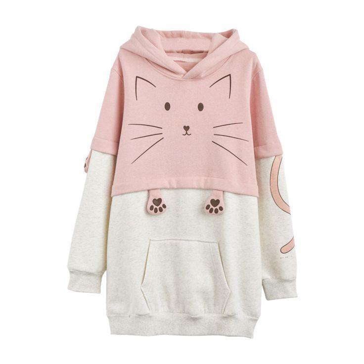 "Harajuku cute cat hoodie   Coupon code ""cutekawaii"" for 10% off"