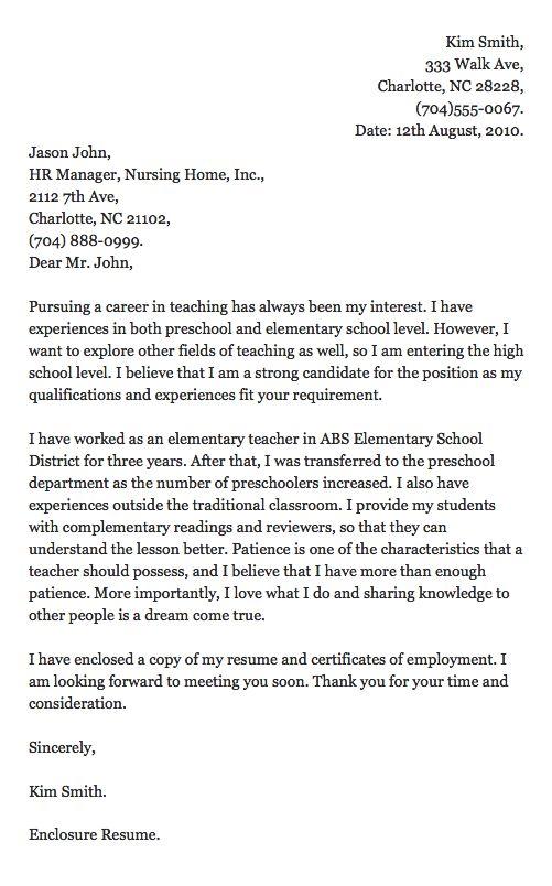 free sample cover letter for resume teacher