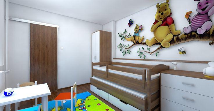 Návrh a vizualizácia nábytku a usporiadanie detskej izby. Sčasti podľa Feng-shui. Biele steny.