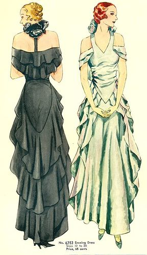 30s black white unique long evening dress neckline backline ruffle bias color illustration print ad Mccall Gown 6753 pattern