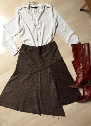 Kupuj mé předměty na #vinted http://www.vinted.cz/damske-obleceni/midi-sukne/14918687-trendy-asymetricka-hneda-zimni-sukne