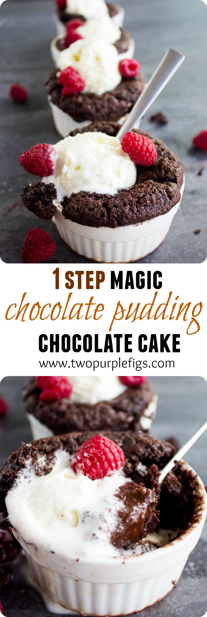 Mini Chocolate Pudding Cakes. A magical cake that is all baked in one pan but separated in the oven to a fluffy chocolate cake and thick chocolate pudding sauce! An EASY simple recipe that EVERYONE will love! www.twopurplefigs.com