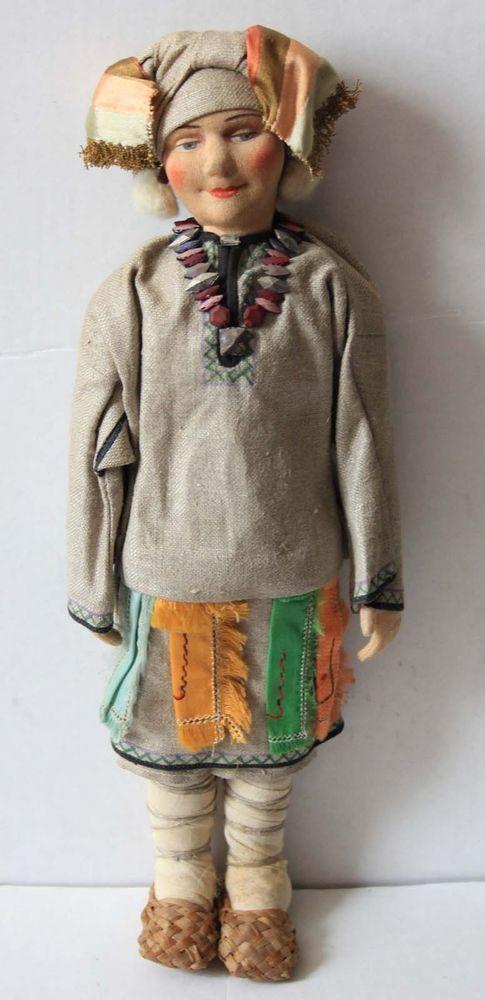 Antique Cloth Mordwa Woman Doll 15  Russia Soviet Union Tag RARE