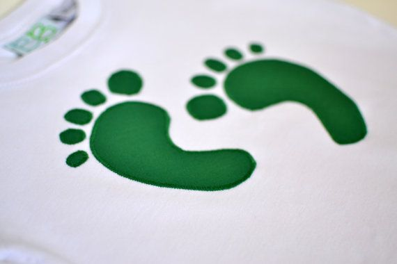 Green Feet Applique Bodysuit or Tee by DaisyFayeDesigns on Etsy, $17.00