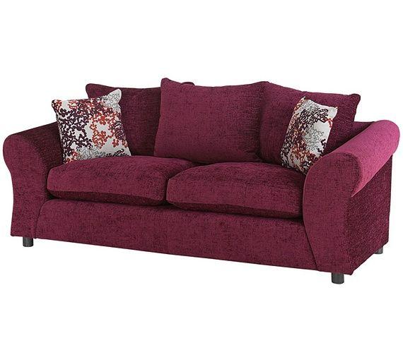 buy home new clara 3 seater fabric sofa plum at argoscouk - Etagenbett Couch Lego Film
