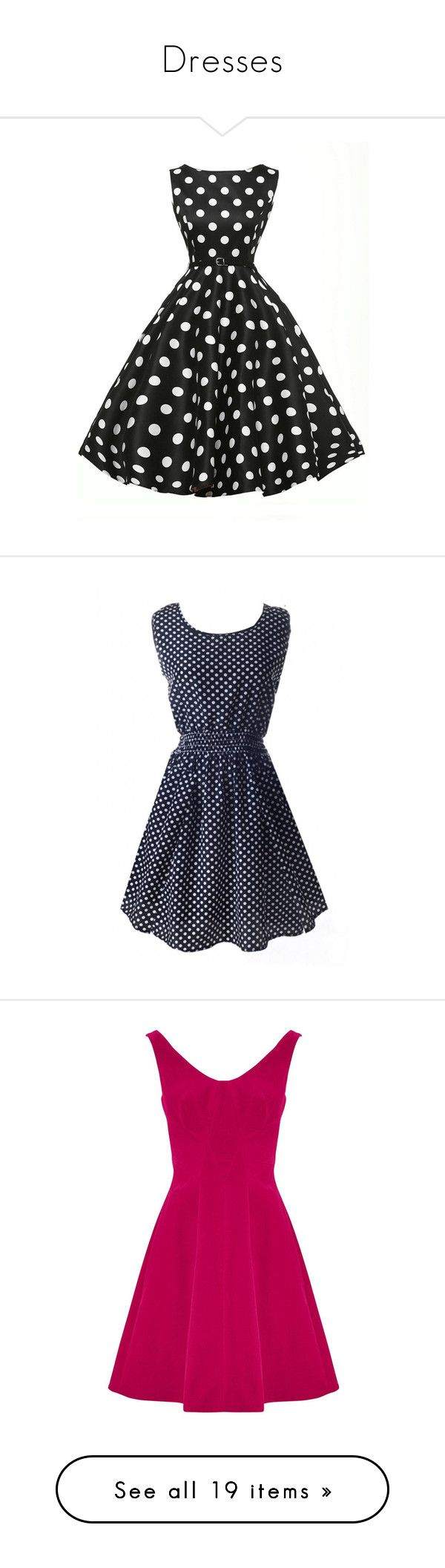 """Dresses"" by awidensky ❤ liked on Polyvore featuring dresses, black, black and white polka dot dress, sleeveless dress, sleeveless swing dress, long-sleeve mini dress, black and white dresses, cotton polka dot dress, blue dot dress and polka dot tea dress"