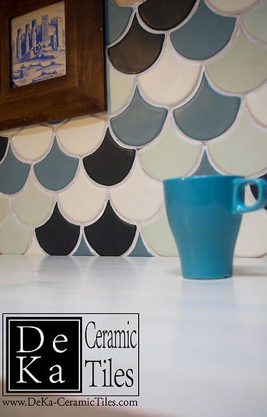 Hand Made Wall Fan Tiles from DeKa Tiles Studio
