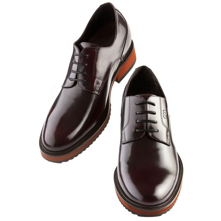 Elevator Shoes for Women : Vienna W. Upper in shiny bordeaux calfskin, insole and midsole in genuine leather, cotton waxed shoe laces. Hand Made elevator shoes in Italy by www.guidomaggi.com/us
