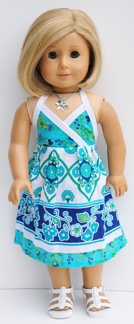 American Girl Clothes - Aqua and Blue Halter Sundress with Headband