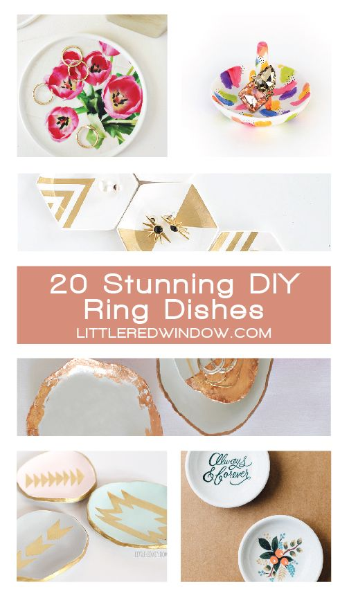 20 Stunning DIY Ring Dishes and Trinket Dishes! | littleredwindow.com