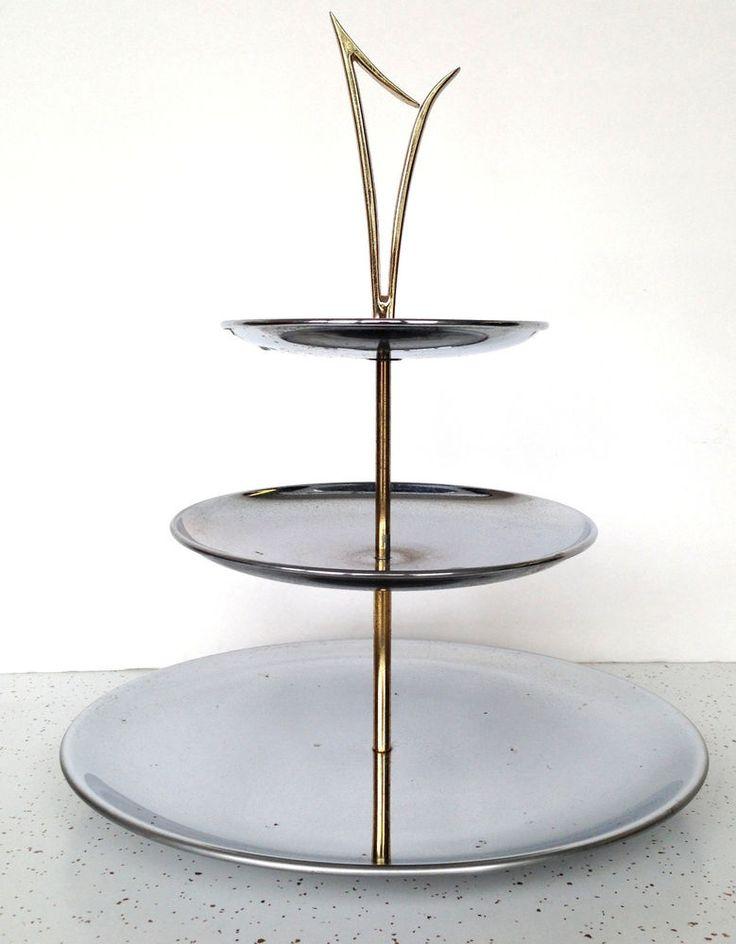 Vintage Kromex Mid Century Modern Serving Tray Chrome Brass 3 Tier Atomic