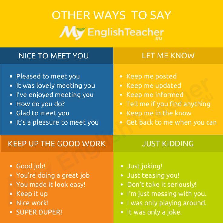 "Other ways to say ""keep up the good work"" - Online English Teacher - MyEnglishTeacher.eu"