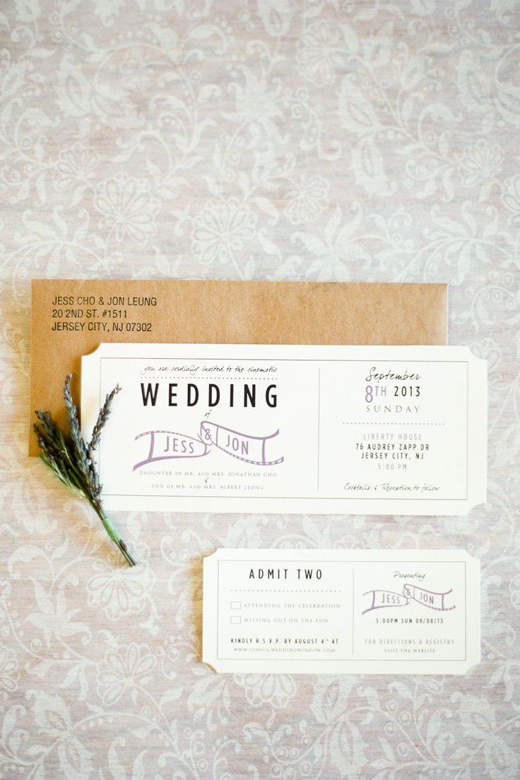 #Invitation #Ticket | See the wedding on SMP - http://www.StyleMePretty.com/new-jersey-weddings/jersey-city/2014/01/02/liberty-house-wedding/ Brklyn View Photography