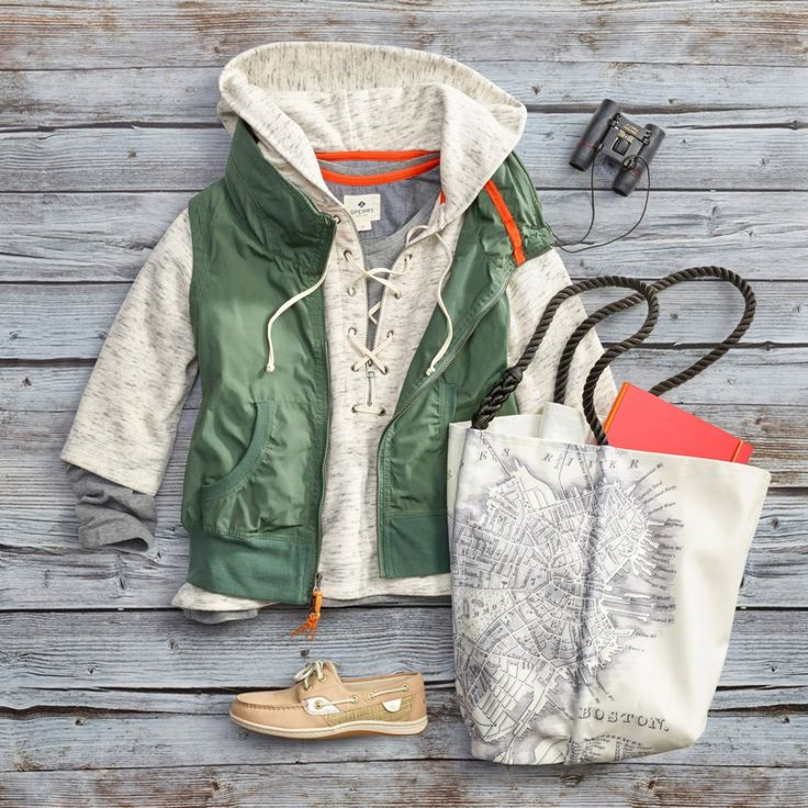 Give the gift of adventure with a head-to-toe look inspired by the beautiful landscape of Iceland. Shop our buttoned down thermal tee paired with a lace up hooded sweatshirt and our Hide-Away hoodie vest. Wear with the Sperry Metallic Koifish boat shoe and a large vintage tote from Maine-based Sea Bags.