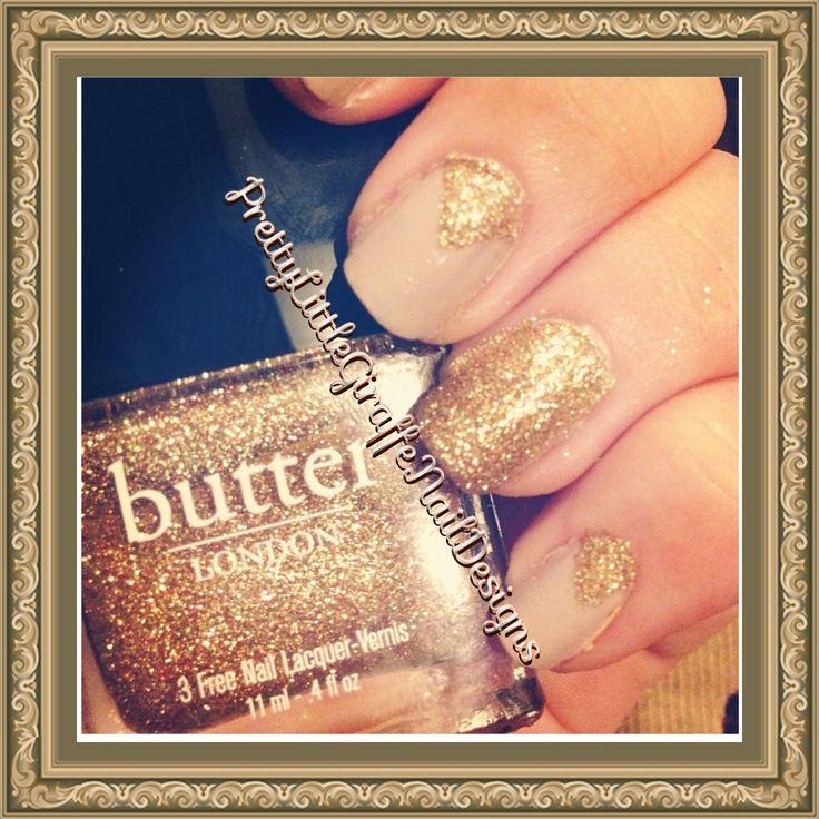 Gold glitter and beige nail art  By prettylittlegiraffenaildesigns