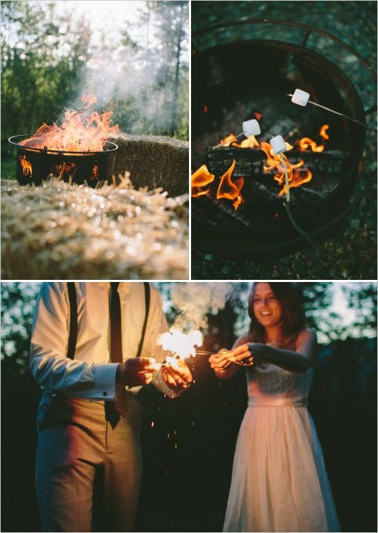 roasting marshmallows and sparklers http://www.weddingchicks.com/2013/11/25/national-park-wedding/: