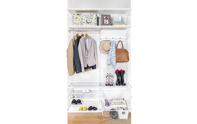 Create a perfectly organized mudroom using our new freedomRail Reveal accessories. They slide out on full extension drawer glides to provide full visibility to items you're storing.