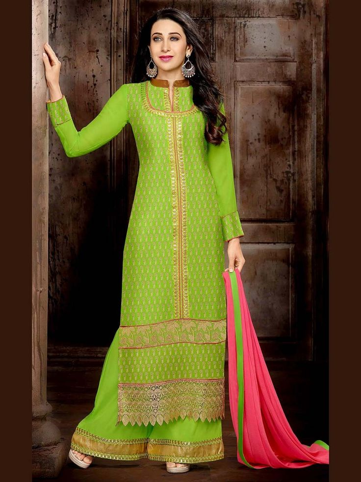 Fabulous lemon green color georgette kameez embellished with shiny zari work. Item Code : SLEB8009 http://www.bharatplaza.com/new-arrivals/palazzo-suits.html