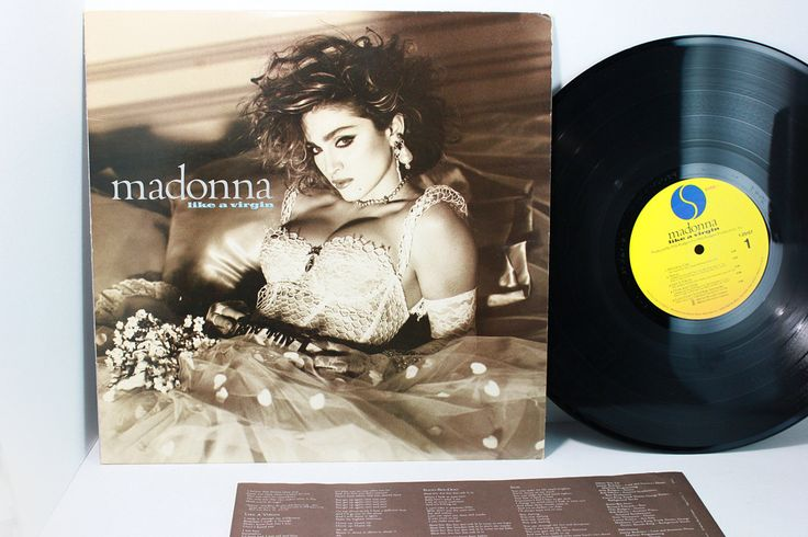 """Madonna """"Like A Virgin"""" Vinyl Record -  """"Material Girl"""" - """"Over and Over"""" - Dance Pop - Sire Records Original Release 1984- 80's Xmas Gift by VintageLostButFound on Etsy"""