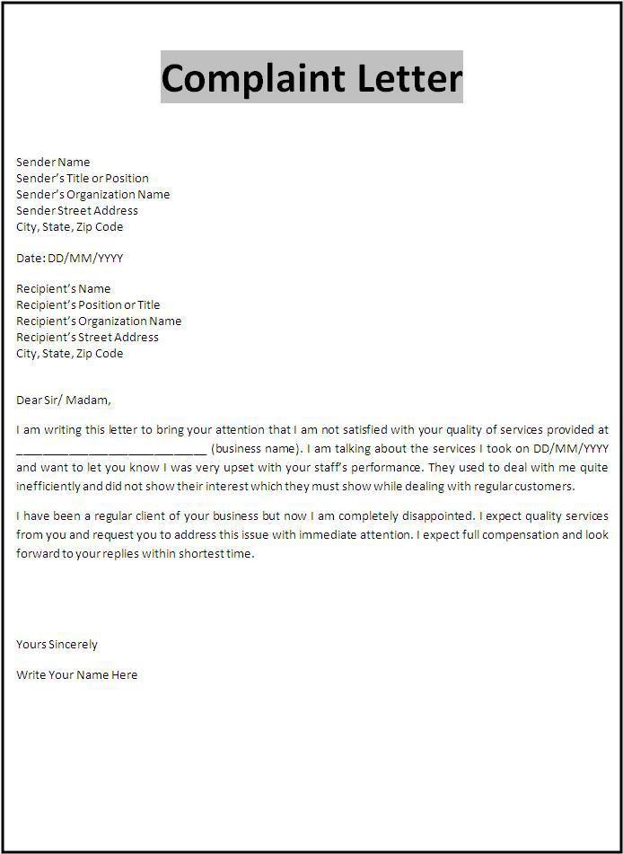 Complaint Letter Template  Important Forms  Letter sample Business letter template Formal