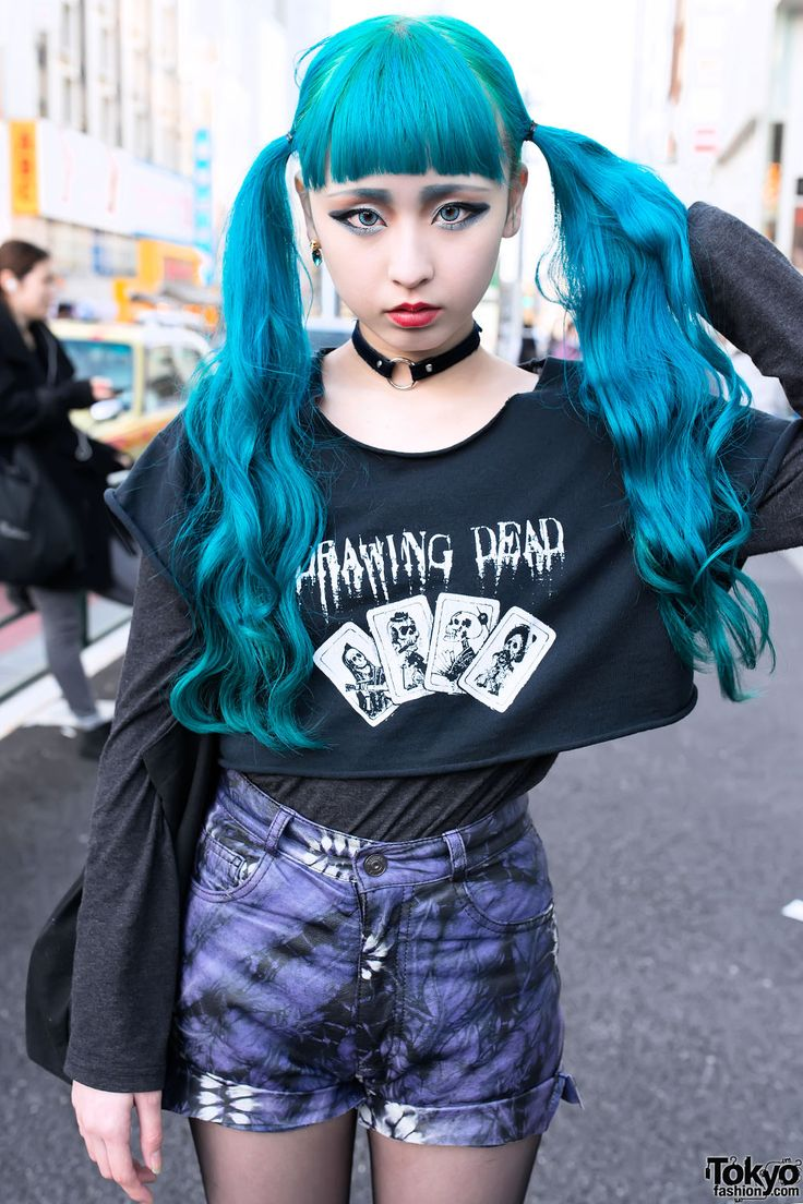 Blue Twintails Hairstyle, Psycho Apparel & Tokyo Bopper in Harajuku by Tokyo Fashion