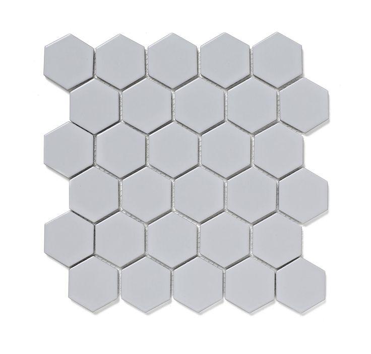 Mosaic Hex White Tile 300Mm X 300Mm - 1 Sheet VictoriaPlum.com