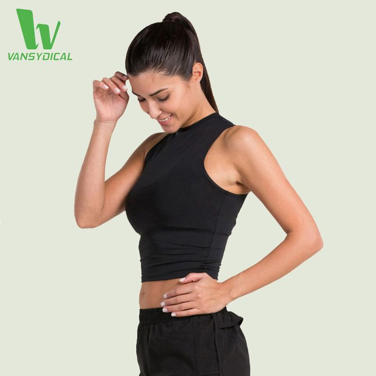 VANSYDICAL Running Vest Womens Yoga Sleeveless Tank Gym Sports Vest Women Tank Tops Bodybuilding Fitness Polyester Sports Shirts #Affiliate