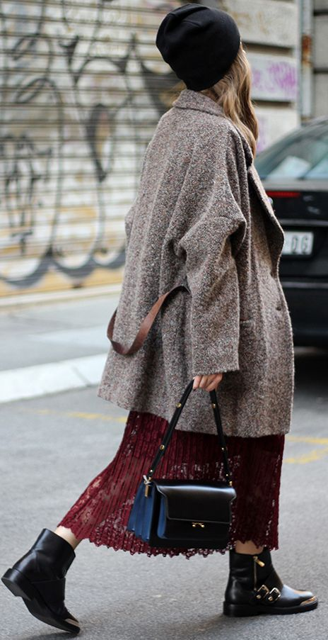 Burgundy Lace Maxi Skirt Fall Street Style Inspo by Fashion And Style