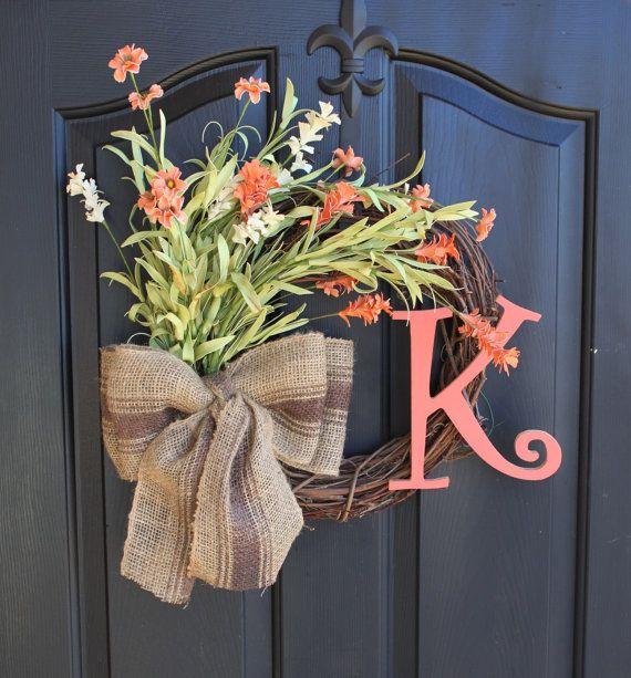 Burlap Wreath - Wreaths - Summer Wreath for door - Summer Wreath - Home Decor -Gift idea on Etsy, $76.00