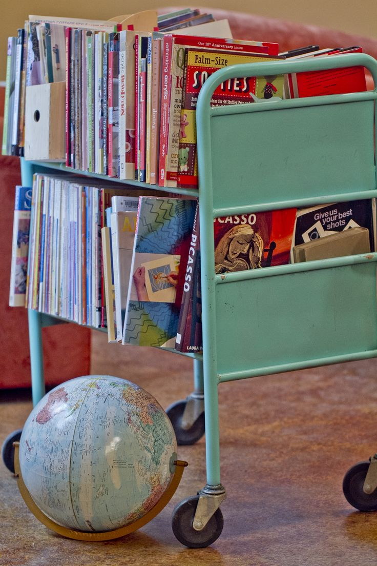 vintage library cart--painted aqua. Love this!  Just have to find one....