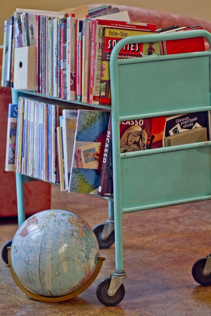 Vintage school library cart
