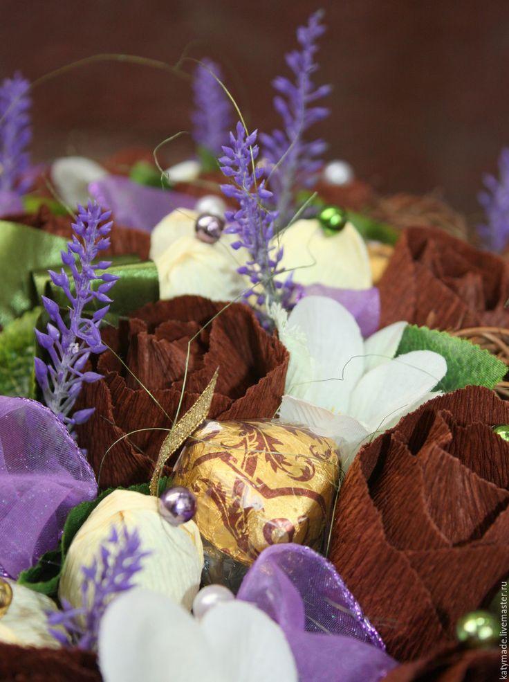 Купить Шоколад и лаванда..........букет из конфет - корзина шоколада, букет из конфет, шоколадный букет