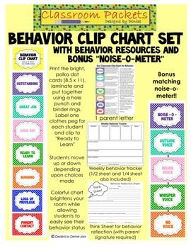 My Behavior Clip Chart set makes it easy for you and your students to track their daily behavior. This set is so bright and cheerful with polka dots - you will love hanging it in your classroom. Includes 7 behavior levels and a title card, parent explanation letter, weekly behavior chart, think sheet (behavior reflection page) and a bonus, matching Noise-o-Meter. $