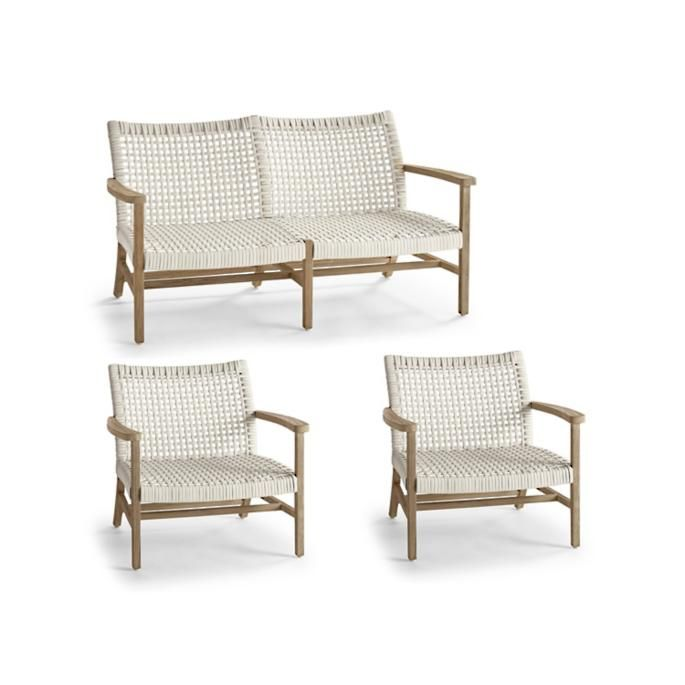 Isola 3-pc. Loveseat Set in Weathered Finish   – Outdoor furniture