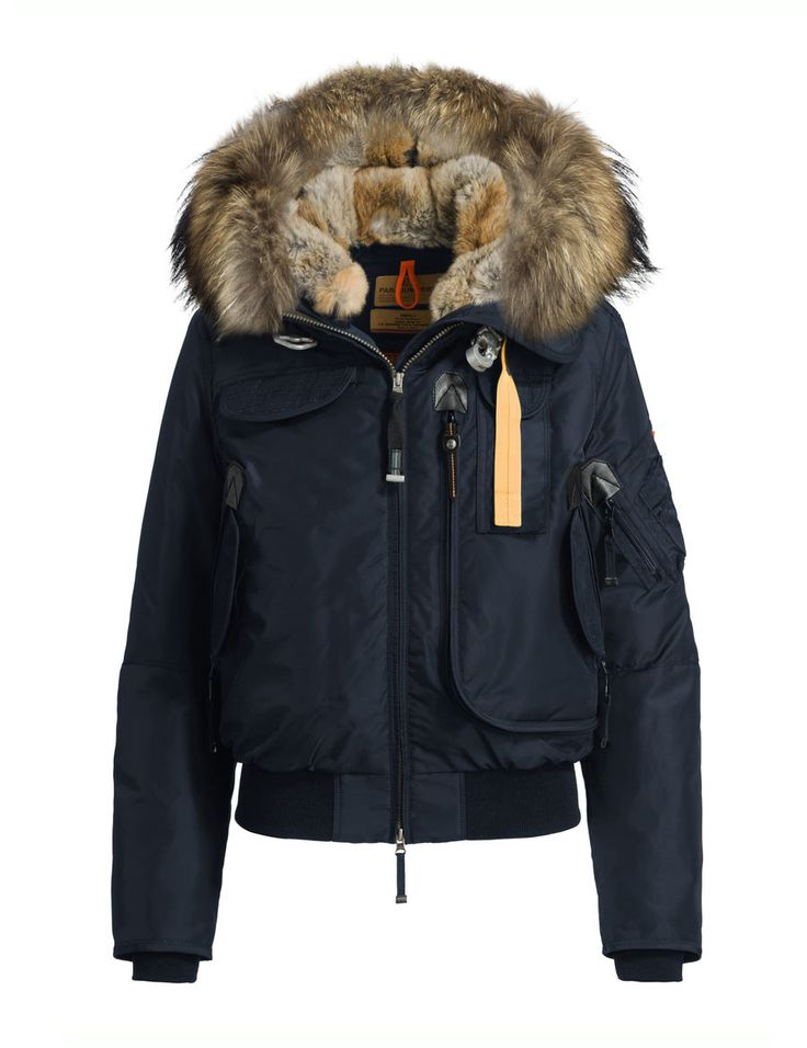 Parajumpers Gobi navy jacket Down-filled nylon bomber. Adjustable hood with real fur lining and a detachable real fur trim. The shell fabric has…