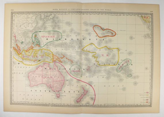 Vintage Map Oceania 1881 Rand McNally Oceania Map