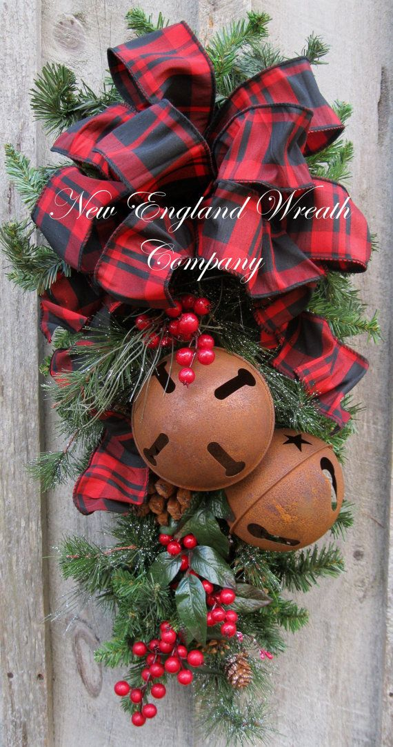 Christmas Swag, Holiday Door Wreath, Sleigh Bells, Christmas Wreath, Woodland, Rustic Christmas, Plaid Bow Swag