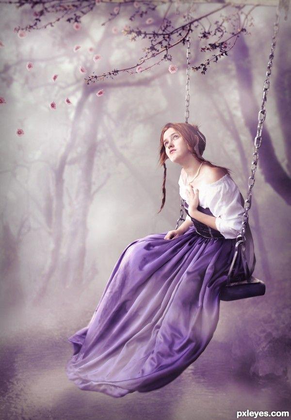 Woman in purple - swinging.