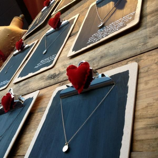 A clipboard with a heart on it is a High Impact, Budget friendly Valentine's Display for jewelry