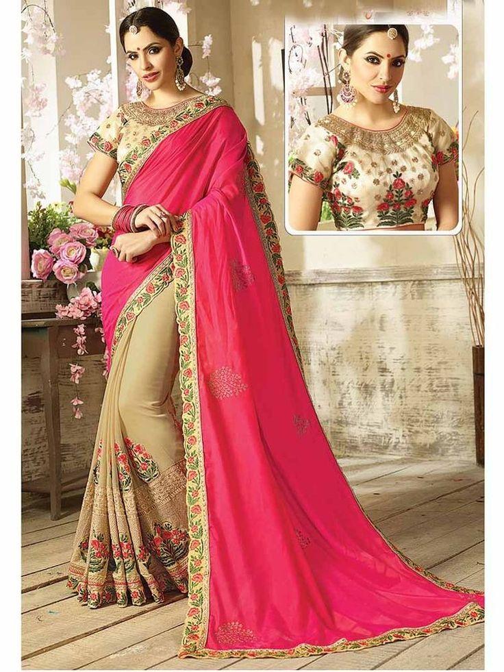 Designer Indian Women Party wear Georgette Gold Print Diamon Pearl work saree #Handmade #SariSaree