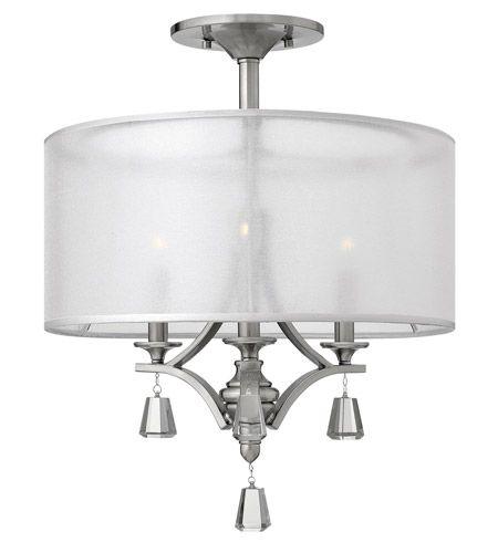 Fredrick Ramond FR45601BNI Mime 3 Light 18 inch Brushed Nickel Semi Flush Ceiling Light in Sheer Hardback #LightingNewYork