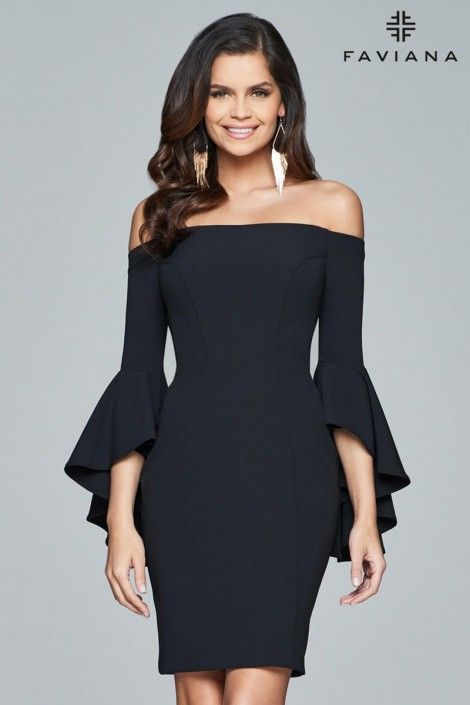 Style S8076 from Faviana Glamour is an off the shoulder stretch crepe slim cocktail dress with angel sleeves.