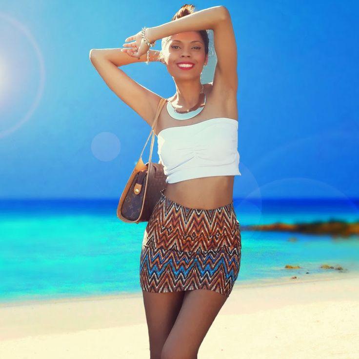Fashion Blog Post | OOTD : Tribal Mini Skirt & Bandeau Top with High Bun Hairstyle